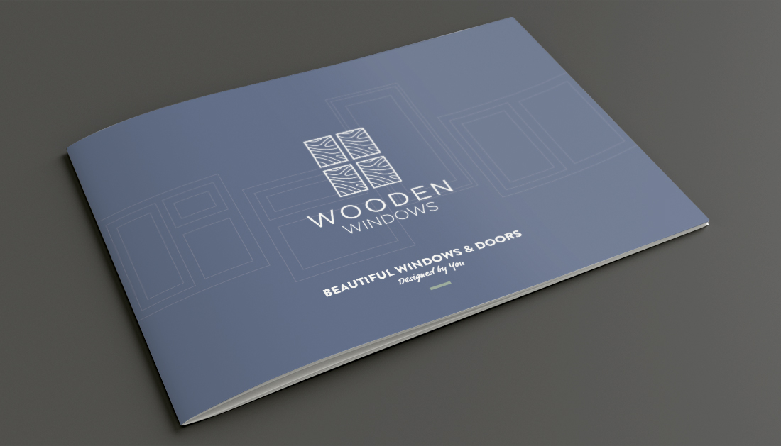 A4 landscape printed brochure for Wooden Windows.