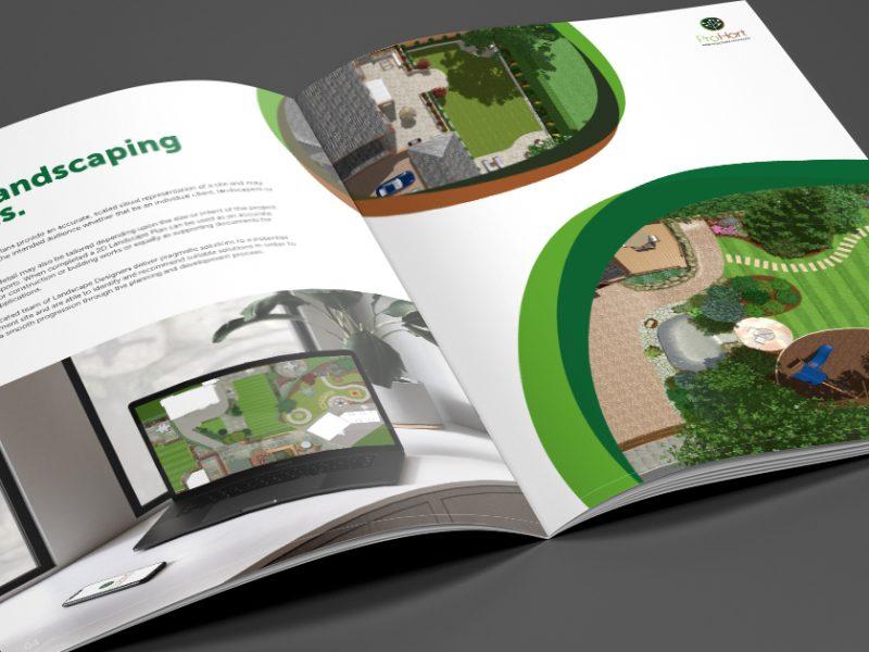 A4 printed brochure designed for garden landscape company Pro Hort.