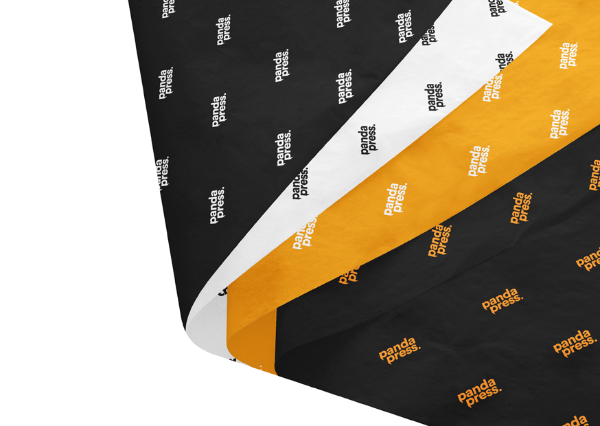 Bespoke Printed Tissue Paper available in Black, white and orange.