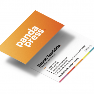 Panda Press business cards, design and print, available in 350gsm, 400gsm, 450gsm, 600gsm, matt laminated, spot uv, foiled