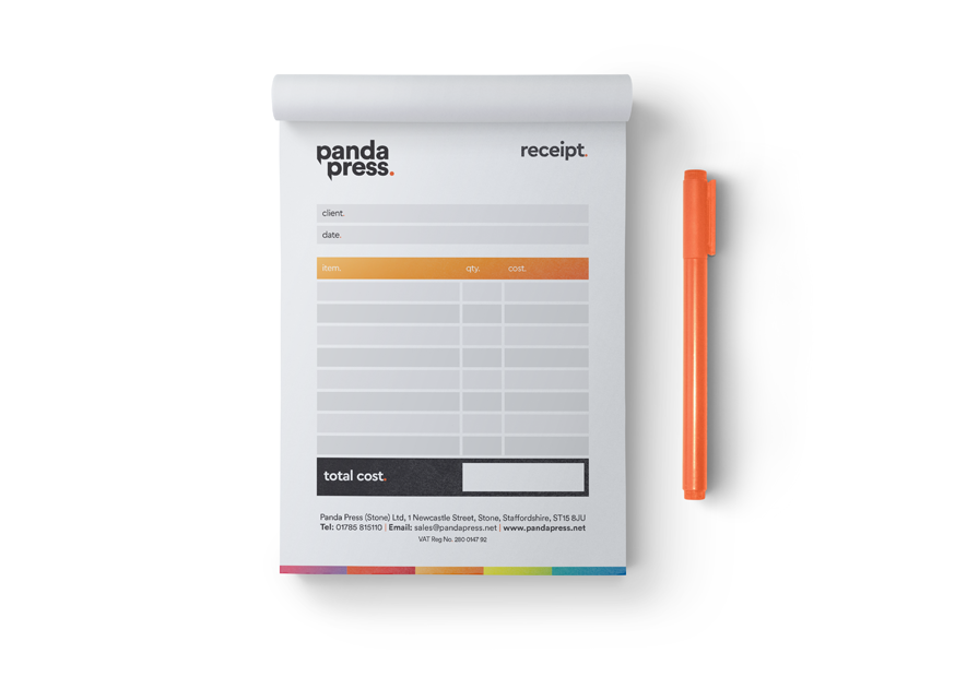 Panda Press Printed NCR pads for invoices and receipts, available in A4, A5, A6 and 2 part, 3 part or 4 part