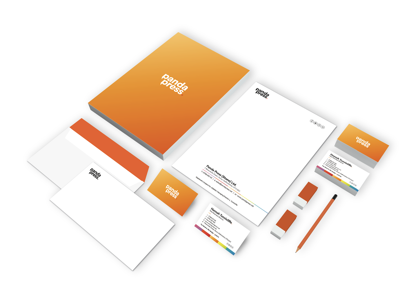 Panda Press printed stationery letterheads, business cards, compliment slips, envelopes, 120gsm, 160gsm, full colour